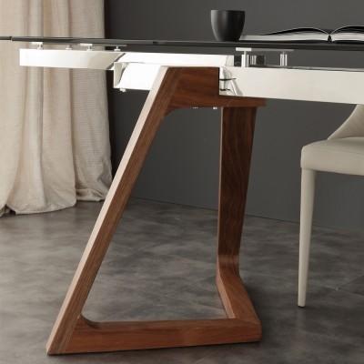 Tavolo allungabile di design con piano in vetro temperato Iside