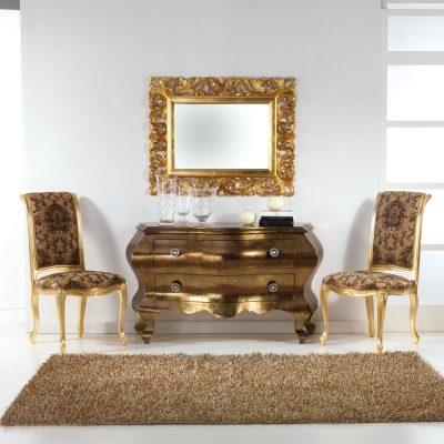 Sedia in legno dallo stile classico con gambe foglia oro Bellini