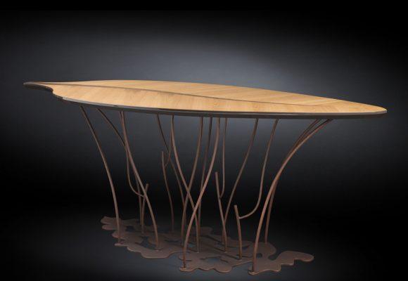 Consolle di design impiallacciata rovere e noce artigianale Fenice